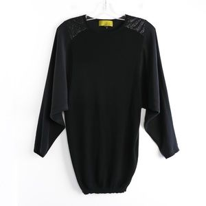 Nicole Miller black batwing long knit sequin silk